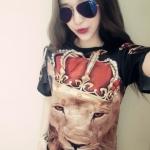 pr1391 เสื้อแฟชั่น คอกลมแขนสั้น สกรีนหน้าสิงห์โต