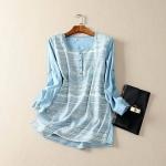 P69311 เสื้อแขนยาว ผ้ายีนส์เนื้อดีพิมพ์ลาย สีฟ้า