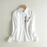 P81411 เสื้อเชิ้ตแขนยาว ผ้าฝ้ายเนื้อดีกระดุมหน้า สีขาว