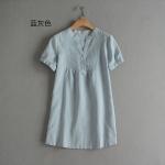P55012 เสื้อแฟชั่นตัวยาว ผ้าฝ้ายเนื้อดี คอวี สีเขียว สีขาว