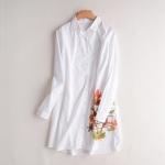 p92621 เสื้อเชิ้ตตัวยาวทรงหลวม ผ้าฝ้ายเนื้อดีกระดุมหน้า สีขาว