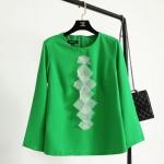 P18907 เสื้อแขนยาว ผ้าฝ้ายเนื้อดีสีเขียว แต่งผ้าชีฟองสีครีม