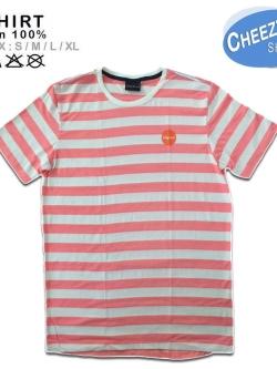 เสื้อลายทาง ลายขวาง แนวนอน สีส้มโอรสริ้วใหญ่