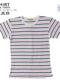 (หมด)เสื้อลายทาง ลายขวาง แนวนอน สีชมพูคาดขาว size L