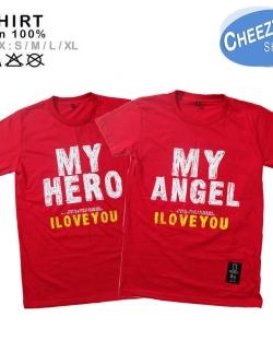 เสื้อคู่รัก ลายน่ารัก แนวๆ ลายMY HERO-ANGEL แดง