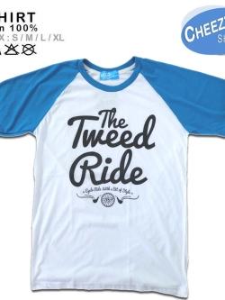 เสื้อยืดแฟชั่น ลายเท่ๆ แนวๆ ไหล่สโลป ลายTweed Ride ฟ้าขาว