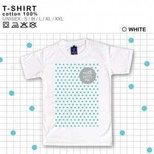 เสื้อยืดแฟชั่น ลายน่ารัก แนวๆ ลายDOT สีขาว