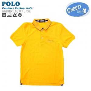 เสื้อโปโลแฟชั่น เกรดพรีเมี่ยม สีเหลืองสาบคอน้ำเงิน