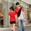 เสื้อยืดคู่รัก แดงดำ ลายทะแยงสุดเท่ห์ thumbnail 2