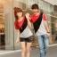เสื้อยืดคู่รัก แดงดำ ลายทะแยงสุดเท่ห์ thumbnail 3