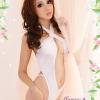 123 ชุดนอนสีขาว เว้าตั้งแต่ช่วงอกถึงช่วงท้อง เป็นชุดแบบไขว้คอแล้วผูกเป็นโบว์ด้านหลัง เย้ายวนมากๆค่