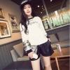 pr1136 เสื้อยืดแฟชั่นสไตล์เกาหลี ผ้ายืดคอทตอนเนื้อนิ่มแขนยาว ปลายแขนตัดต่อผ้าแก้วลายสก๊อต