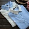 pre453 เสื้อเชิ้ตงานแพทเทิร์น ผ้าฝ้ายเนื้อดี แขนยาว แต่งงานปักรูปดอกไม้ 2 สีขาว ฟ้า size M L