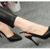 sh023 รองเท้าแฟชั่น หนัง PU เนื้อนิ่ม ส้นเข็ม ทรงสวยมาก ๆ รัดส้น 4 สี ดำ ชมพู เงิน ขาว