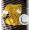DU170 เสื้อราคาส่ง ผ้าฝ้ายเนื้อยืดหยุ่นลายตาราง แขนตัดต่อลูกไม้ เอวหลังยางยืดพร้อมผูกโบว์