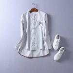 P59712 เสื้อแฟชั่น ผ้าฝ้ายเนื้อดีแขนยาวกระดุมหน้า หน้าสั้นหลังยาว สีเทา ขาว