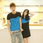 ชุดคู่รักแฟชั่นไสตล์เกาหลี เดรสหญิงทรงค้างคาว+เสื้อยืดชาย สีฟ้าดำ