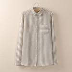 P05130 เสื้อเชิ้ตแขนยาว งานแพทเทิร์น ผ้าฝ้ายเนื้อดีลายทางลง สีเทา
