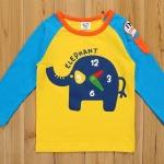 CI&SI เสื้อแขนยาวสีเหลือง แขนฟ้า ลายนาฬิกาช้าง