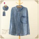 P7513 เสื้อเชิ้ตแขนยาว ผ้ายีนส์เทียมเนื้อดี สีน้ำเงิน