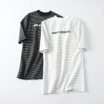 p89601 เสื้อยืดตัวยาว ผ้ายืดเนื้อดีลายริ้ว สีขาว สีดำ