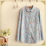 pre766 เสื้อเชิ้ตผ้ายีนส์แขนยาว พิมพ์ลายดอกไม้สีฟ้า
