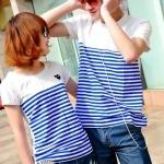 เสื้อยืดคู่รักแฟชั่นสไตล์เกาหลี ใส่แล้วน่ารักเป็นคู่มีสามสีให้เลือก