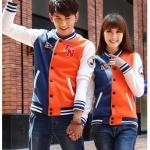 เสื้อกันหนาวคู่รักสไตล์เกาหลี สีส้มฟ้า
