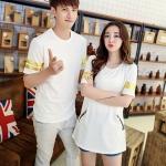 เสื้อคู่รัก สีขาวแถบแขนสีทอง ชุดหญิงมีซิปด้านข้าง น่ารักสุดๆ
