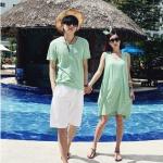 เสื้อคู่รักแฟชั่นสไตล์เกาหลี สีเขียวอ่อน ใส่เที่ยวทะเล ชิวๆ จ้า