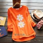 pre338 เสื้อแฟชั่นเกาหลี ผ้ายืดคอทตอนเนื้อนิ่มแขนยาว แต่งด้วยงานปักรูปดอกไม้ 2 สี