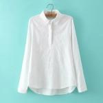 P19212 เสื้อเชิ้ตแขนยาว ไซส์ใหญ่ ผ้าลินินเนื้อดีสีขาว ปักหน้าอก