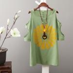 P29412 เสื้อตัวยาว เว้าแขน ผ้าฝ้ายเนื้อดีพิมพ์ลายดอกไม้ สีขาว สีเขียว