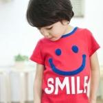 CI&SI เสื้อแขนสั้นสีแดง SMILE