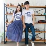 คู่รักแฟชั่นสไตล์เกาหลี เอิ้อมกระโปร่งลายจุดสีน้ำงเเงิน เสื้อยืดผ้านิ่มๆ ลายเก๋สุดๆ น่ารักมาก ๆ จ้า