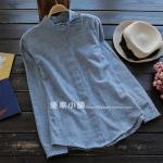 pre447 เสื้อแฟชั่นงานแพทเทิร์น ผ้าฝ้ายเนื้อดีสีน้ำเงิน แขนยาว คอแต่งด้วยโบว์ size S M L