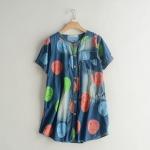 P479114 เสื้อทรงหลวมตัวยาว ผ้ายีนส์เนื้อดีพิมพ์ลาย สีน้ำเงิน
