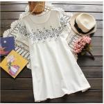 pp012 เสื้อแฟชั่นตัวยาว ผ้าฝ้ายเนื้อดี สีขาว ปักดอกไม้