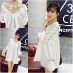 pr1689 เสื้อตัวยาวทรงหลวม คอโครเชต์ สีขาว