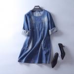 P77141 ชุดเดรสแขนยาว ผ้ายีนส์เนื้อดี สีน้ำเงิน แขนพับได้