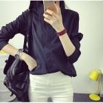 P02712 เสื้อเชิ้ตแขนยาว ผ้าฝ้ายเนื้อดีสีดำ