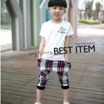 ชุดกางเกง เสื้อสีขาว+กางเกงฮาเร็ม