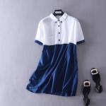 P61321 เสื้อเชิ้ตแขนสั้น ผ้าฝ้ายเนื้อดี สีขาวต่อน้ำเงิน