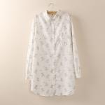P04835 เสื้อเชิ้ตแขนยาว งานแพทเทิร์นผ้าฝ้ายเนื้อดีพิมพ์ลายกรงนก สีขาว