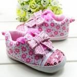 รองเท้าเด็กเล็ก สีชมพูลายดอกไม้