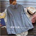 pre393 เสื้อแฟชั่นสไตล์เกาหลี ผ้าฝ้ายทอเนื้อดี คอปกแขนยาว กระดุมหลัง สีฟ้า size M L