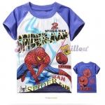 Millou เสื้อยืดแขนสั้น Spider man สีขาว แขนสีน้ำเงิน