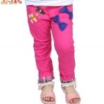 กางเกงยีนส์สีชมพู แต่งโบว์
