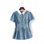 P015108 เสื้อคอปกแขนสั้น ผ้ายีนส์เนื้อบางพร้อมผูกโบว์