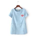 P01311 เสื้อตัวยาว ผ้ายีนส์เนื้อดีทรงปล่อย สีฟ้า